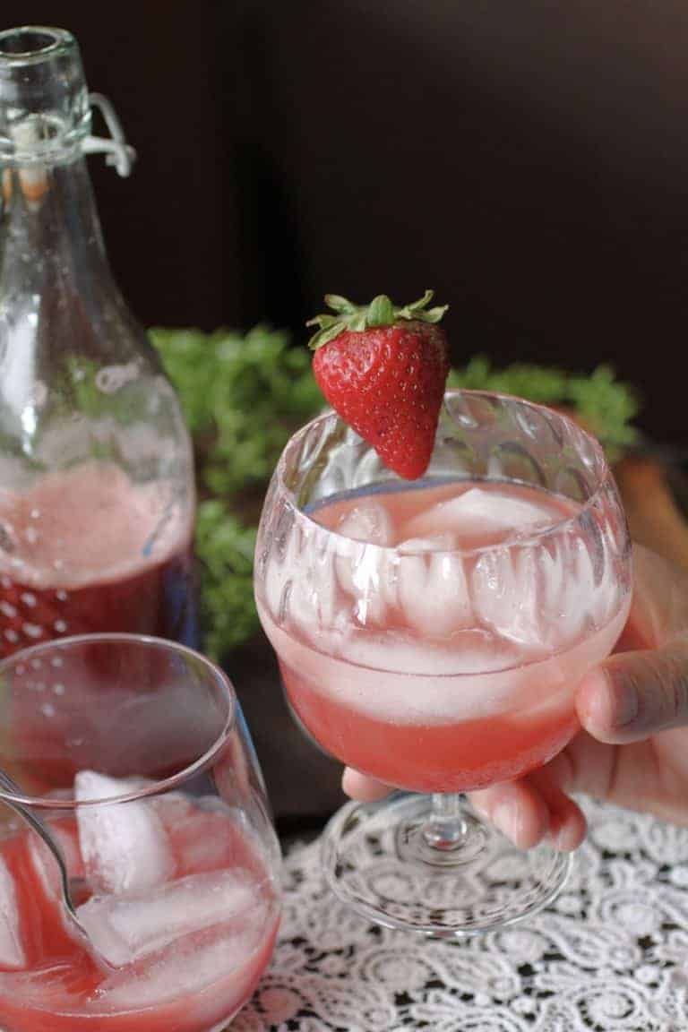 Strawberry Rhubarb mocktail glass