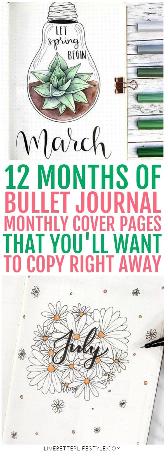 Bullet Journal Monthly Cover Pages