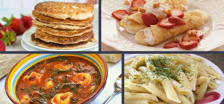 4 healthy stove top recipes, picture of oatmeal cottage cheese pancakes, crepes, tomato spinach tortellini soup, creamy garlic penne pasta