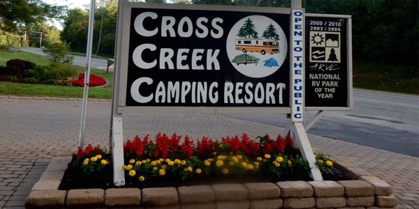 10 rv parks in ohio, cross creek camping resort, picture of cross creek camping resorts front sign