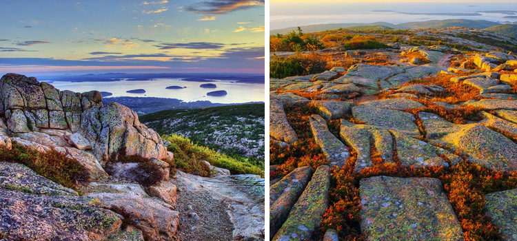 cadillac mountain at acadia national park, 2 pictures of cadillac mountain next to each other