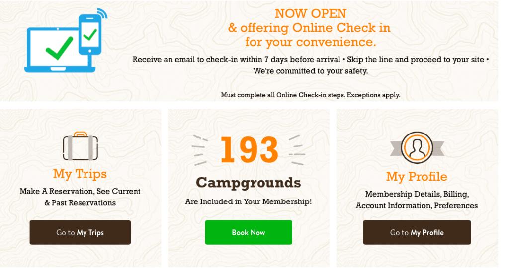 thousand trails membership dashboard
