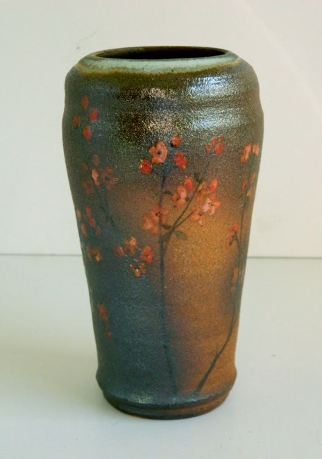 "Orange Blossom Vase, 10"" h x 5.5"" w, hand-painted with underglazes and wood-fired to cone 10"