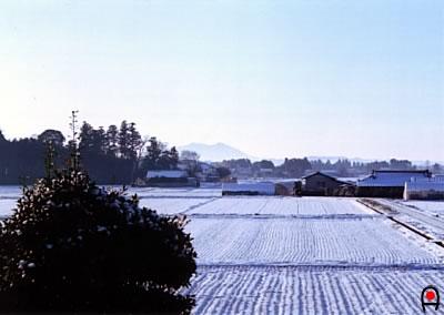 部屋の窓から雪景色