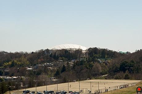 狭山湖から西武ドームの写真