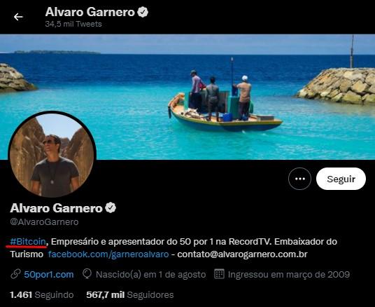 Alvaro Garnero put Bitcoin in his Twitter biography, where he has 500,000 followers