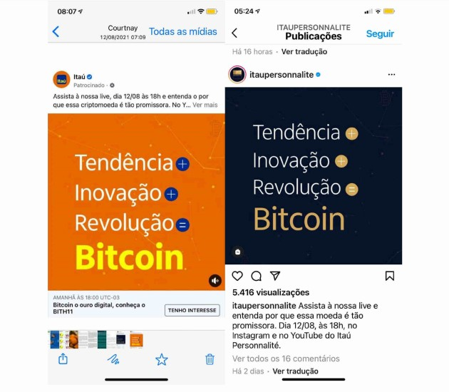 Screenshots of Bitcoin investment offers by Itaú