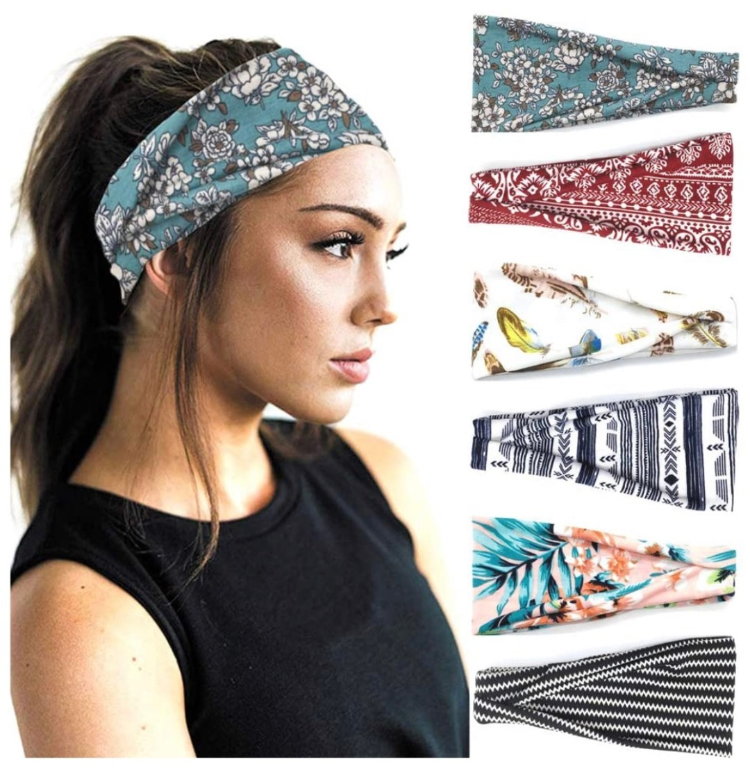6 Pack Women's Yoga Running Headbands