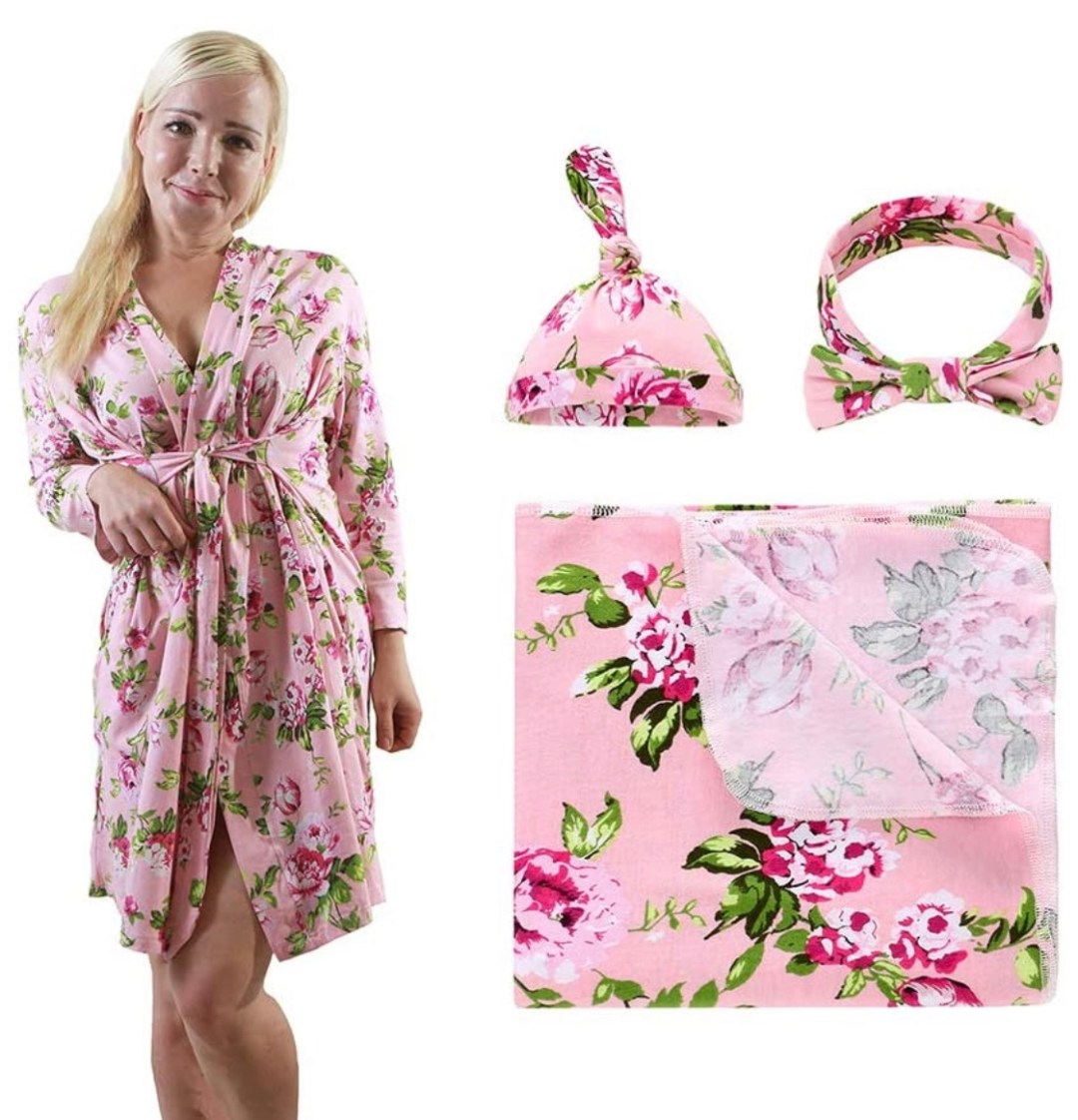Maternity Robe and Matching Baby Swaddle Blanket