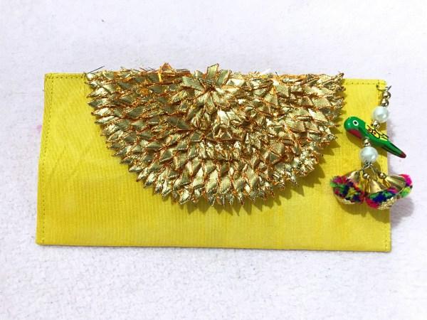 Yellow Parrot Gota Shagun Envelope 5