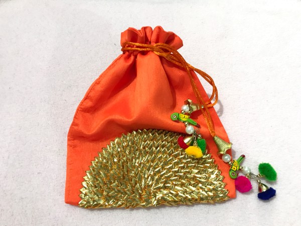 Orange Parrot Gota Shagun Potli