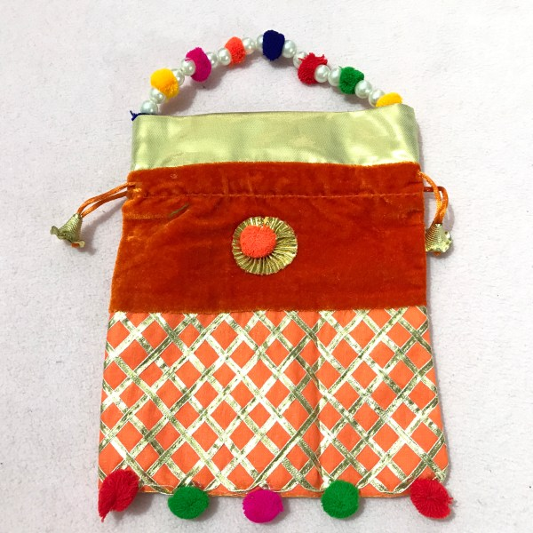 Orange Velvet Potli Bag with Moti Handle 1