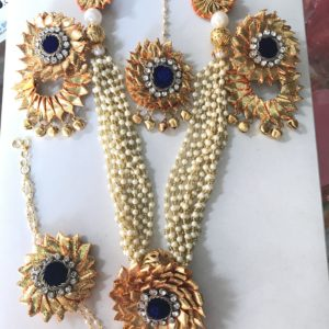 Blue Gota Jewellery Set for Haldi