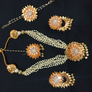 Yellow Gota Jewellery Set for Haldi