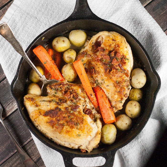 Cast Iron Skillet Roasted Chicken Breasts With Carrots