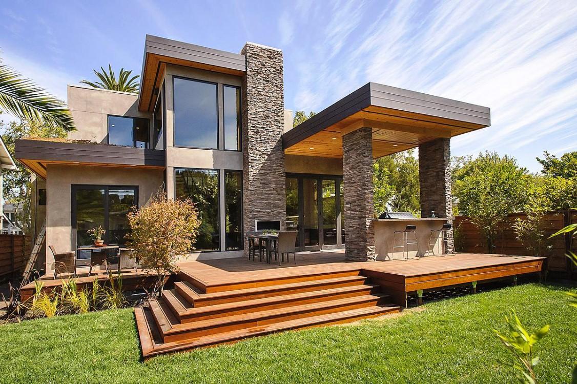 rumah minimalis tampak depan pakai batu alam dsh