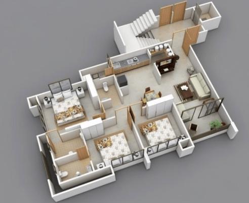 20 gambar denah rumah ukuran 8x10 3 kamar tidur