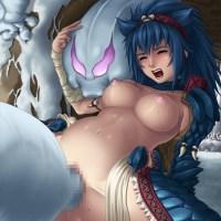 【エロ画像】モンハンの女の子がモンスターにレイプされ種付けされる・・・