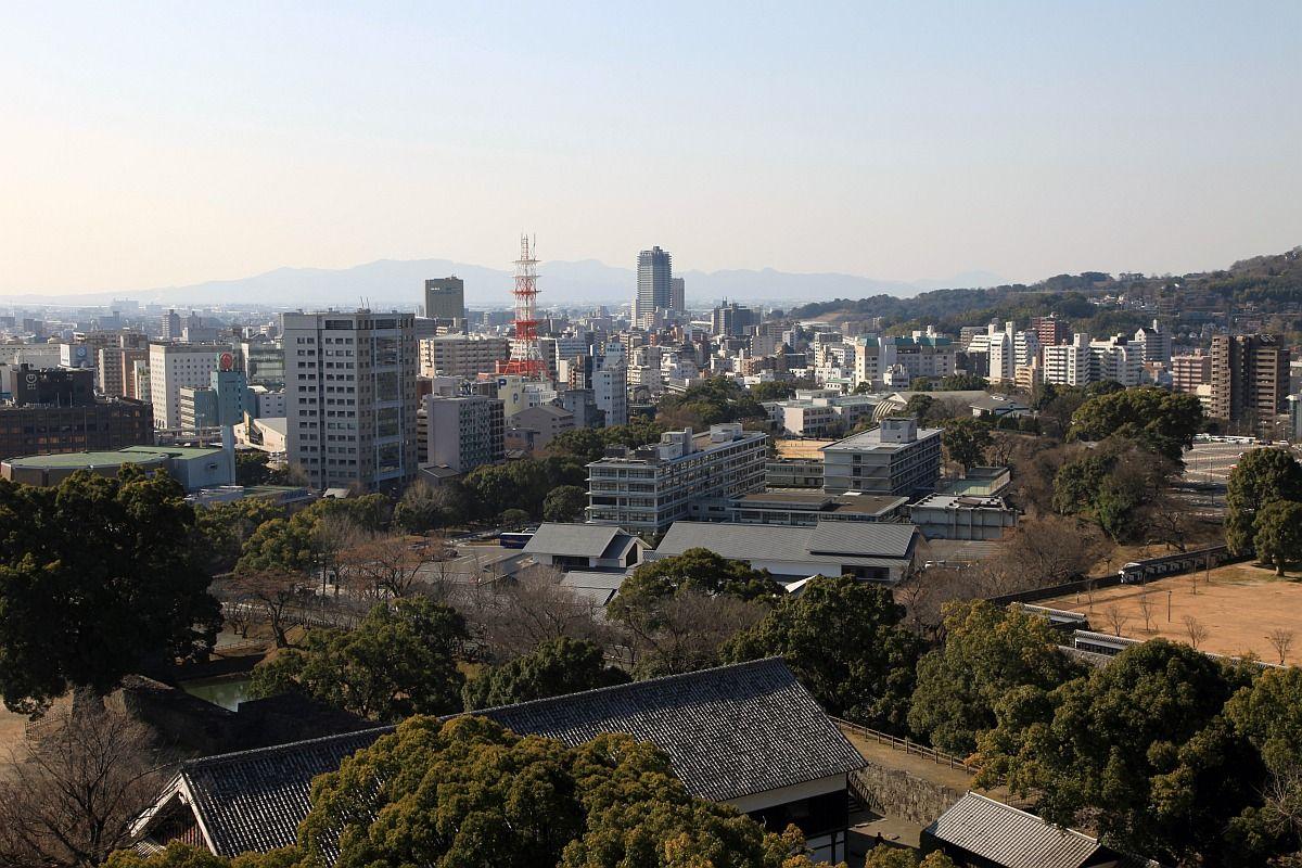 熊本城から熊本駅方面の眺め : 超高層マンション・超高層ビル