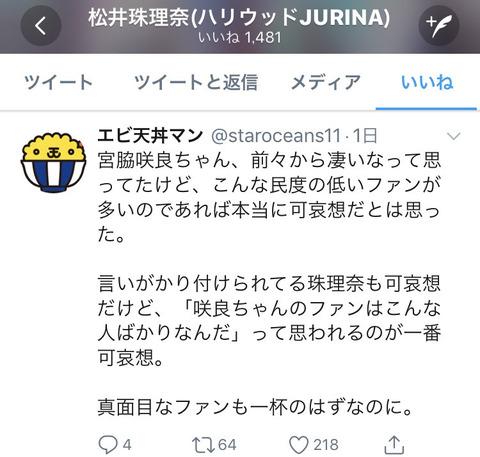 【速報】SKE48松井珠理奈さん「宮脇咲良のファンは民度が低すぎる」ツイートにいいね!をする