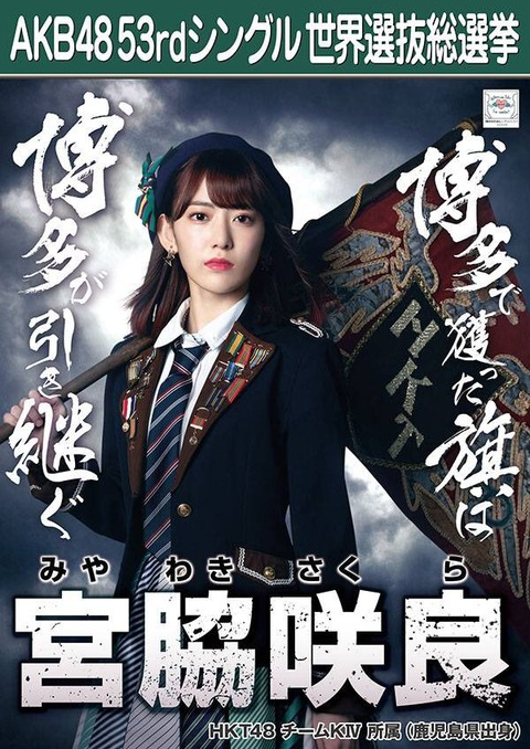 【AKB48総選挙】宮脇咲良が逆転1位になりそうな気配が全くないんだが・・・