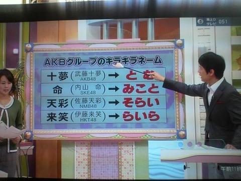 【AKB48G】メンバー以外見たことない珍名「十夢(とむ)」「彩希(ゆいり)」あとひとつは?【キラキラネーム】