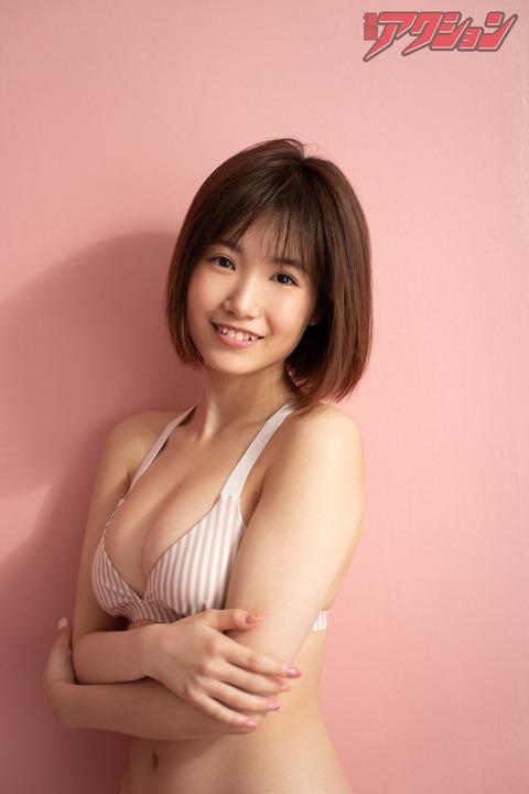 【画像】HKT48朝長美桜ちゃん(20歳)の最新爆乳グラビア!!!