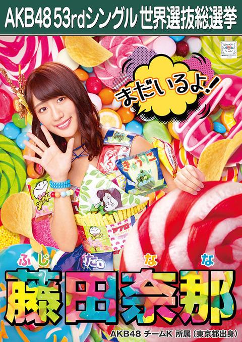 【AKB48】藤田奈那、総選挙に8回参加して速報ランクインさえ1度も無し