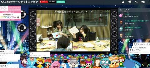 【悲報】AKB48のエースが揃ったANNのSHOWROOM視聴者数がヤバい・・・