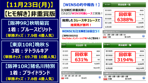 1123win5【ヒモ解き】的中