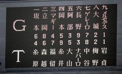 阪神、主軸は福留、糸井、大山ナバーロが6番一塁巨人戦スタメン発表