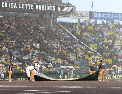 甲子園の阪神戦は雨天のため開始遅延試合直前に強い雨