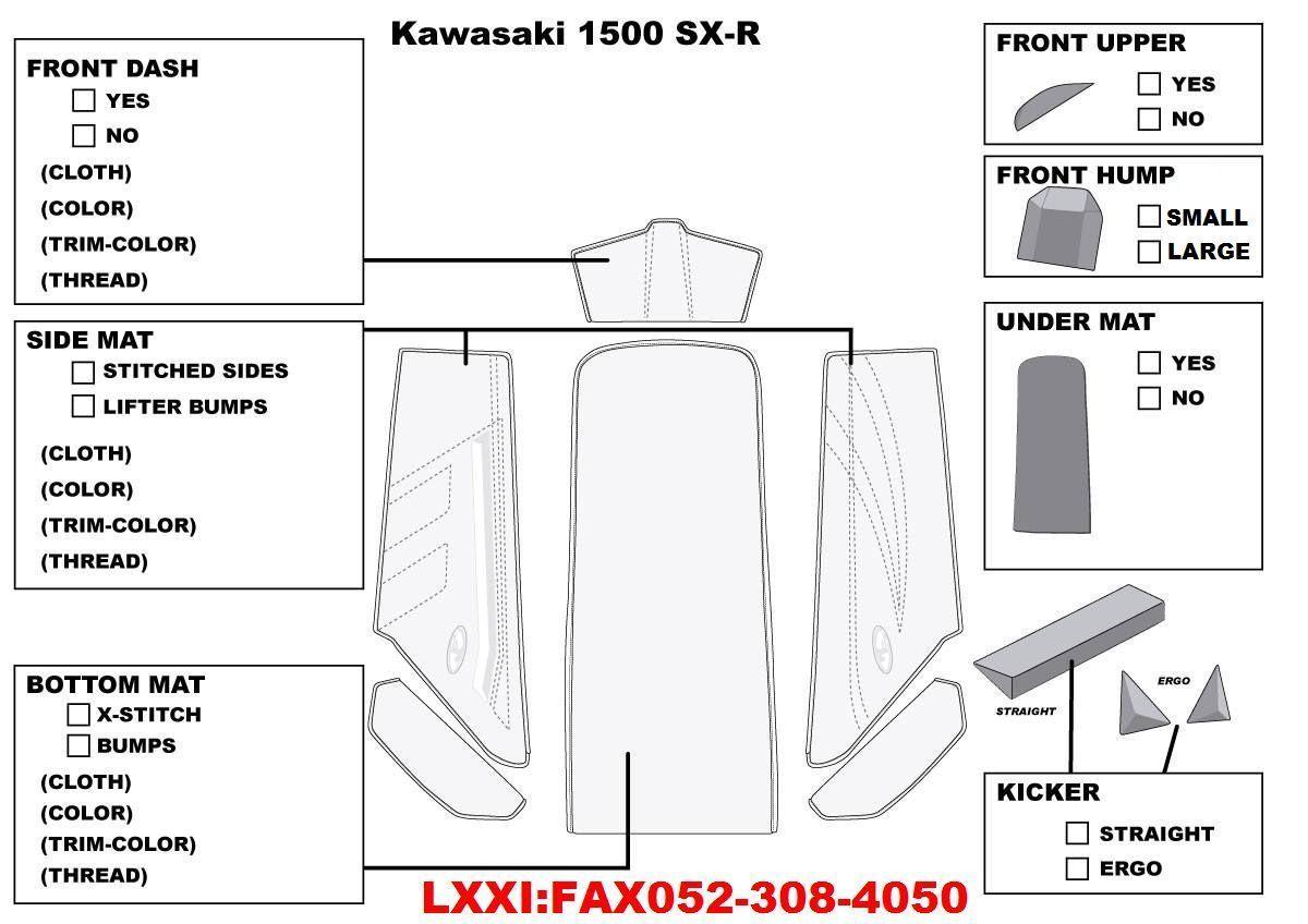 Jettrim Kawasaki Sx R Deck Mat Kit 2 22 Jettrim