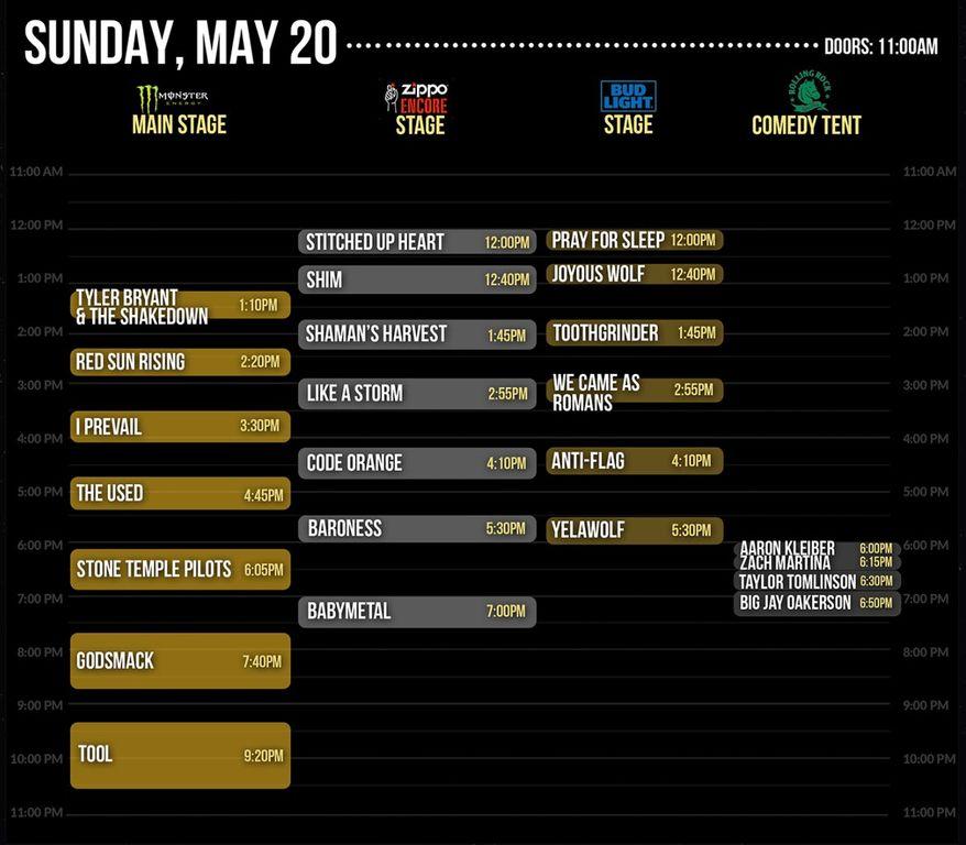 Rock On The Range・タイムテーブル:BABYMETALは5月20日19時2ndステージ ...