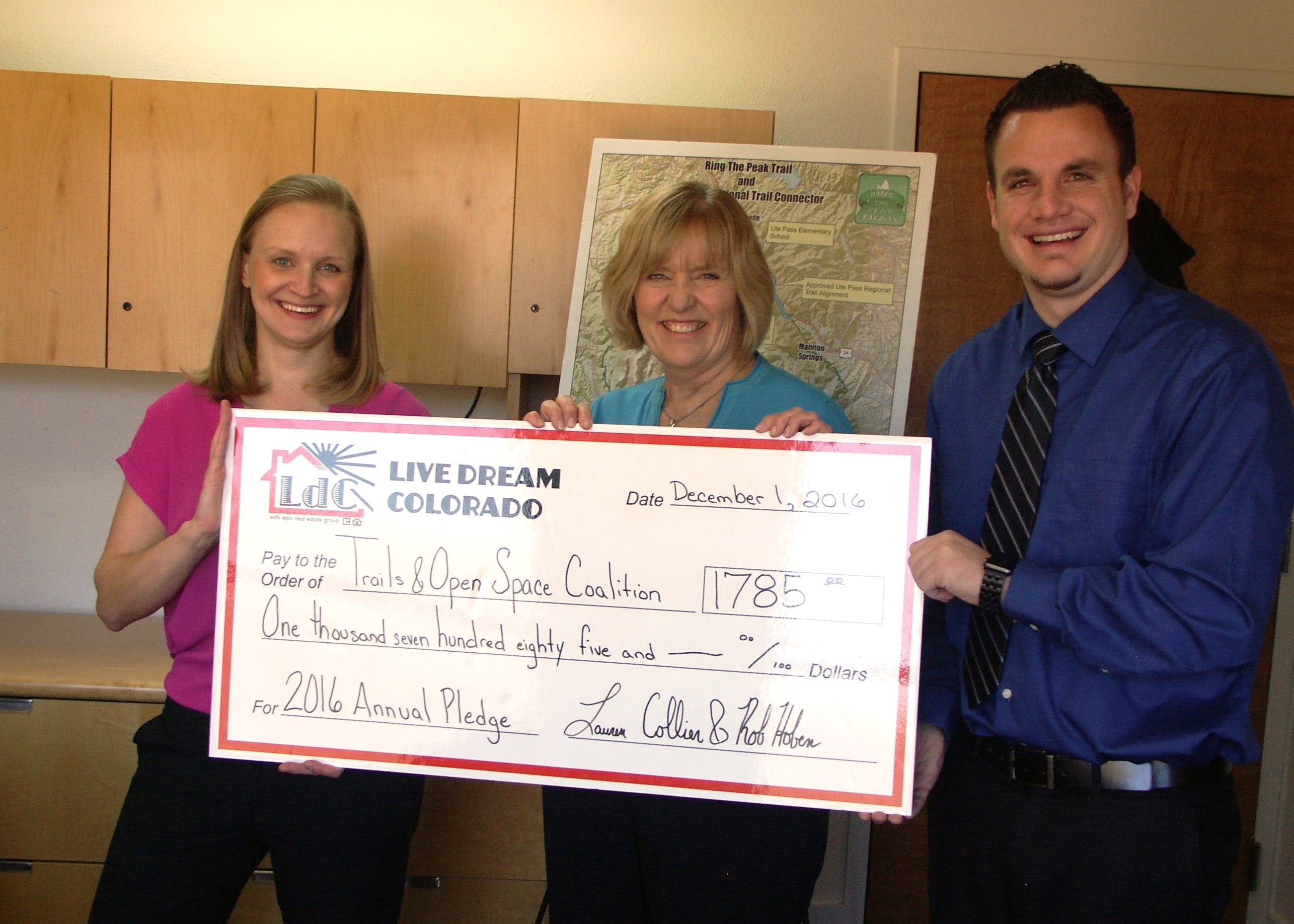 LIVE DREAM COLORADO DONATES A PORTION OF THEIR 2016 ANNUAL PROCEEDS TO TRAILS AND OPEN SPACE COALITION TO HELP PROTECT NATURAL OUTDOOR PLACES IN COLORADO SPRINGS