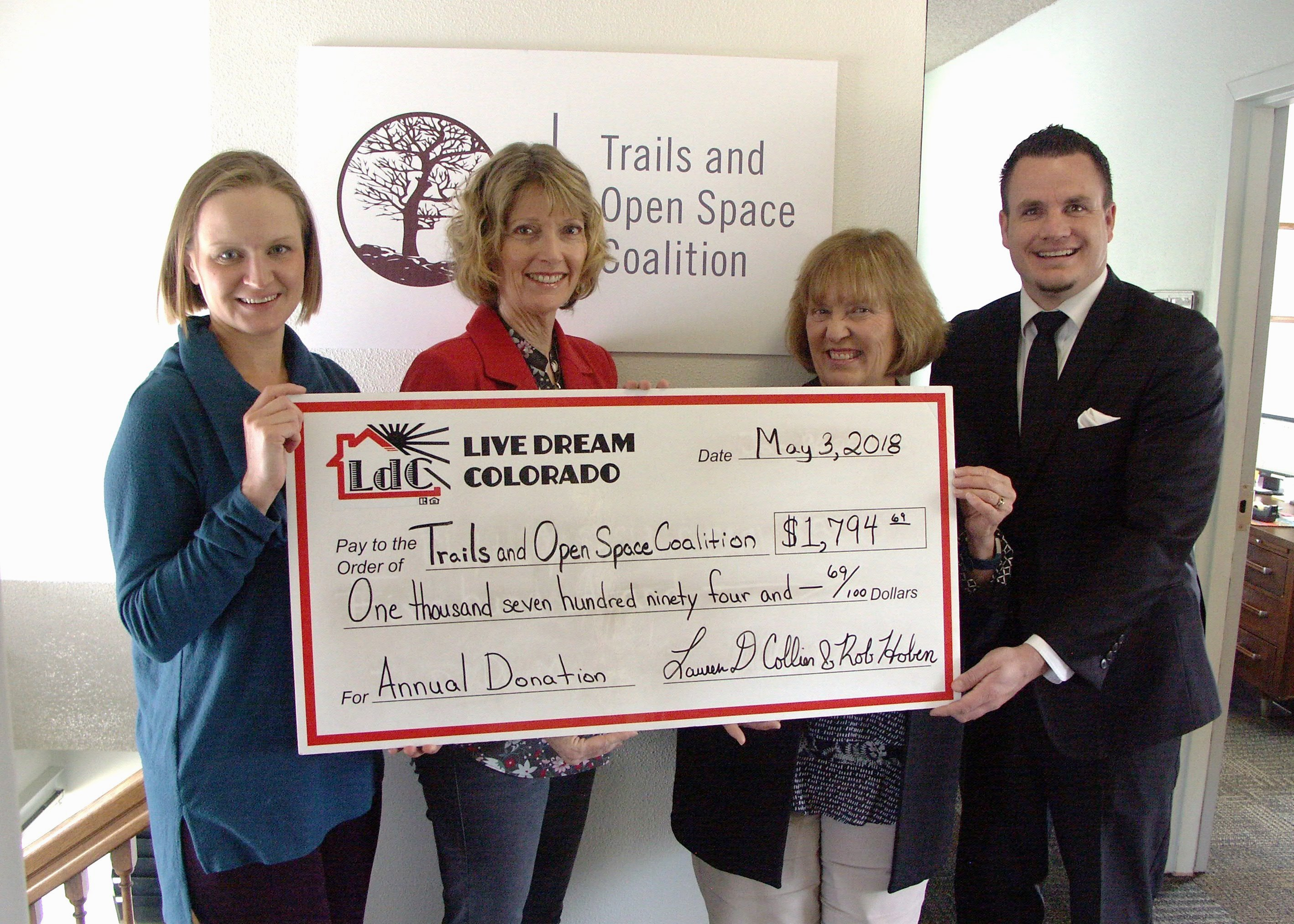 Live Dream Colorado Donates A Portion Of Their Annual Proceeds To Trails And Open Space Coalition To Help Protect Natural Outdoor Places In Colorado Springs
