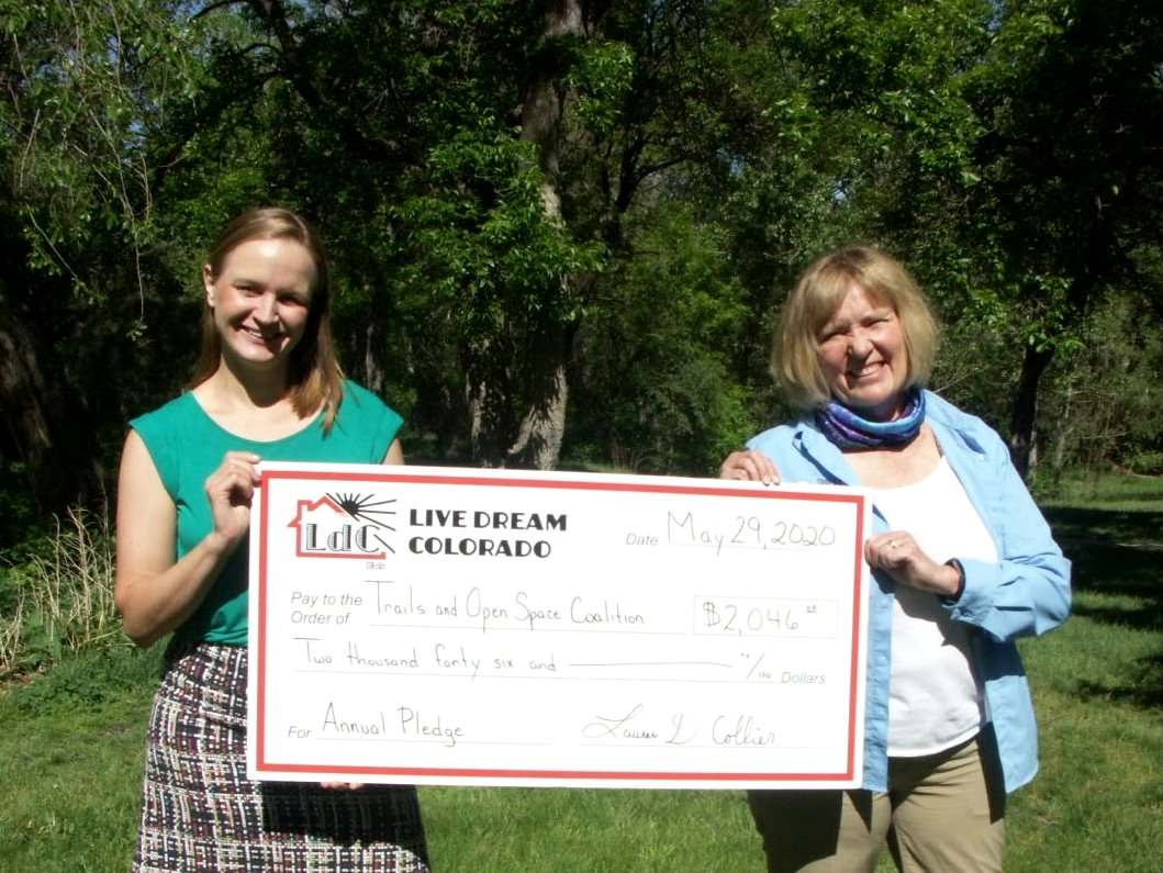 LOCAL 1% FOR THE PLANET MEMBER COMPANY LIVE DREAM COLORADO DONATES TO TRAILS AND OPEN SPACE COALITION FOR THE SIXTH YEAR