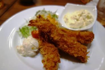 Ebi furai (fried prawns) with Egg mayo, Potato Salad & Cabbage
