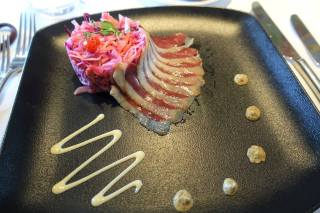 Smoked duck breast, pineapple coleslaw, whole-grain mustard