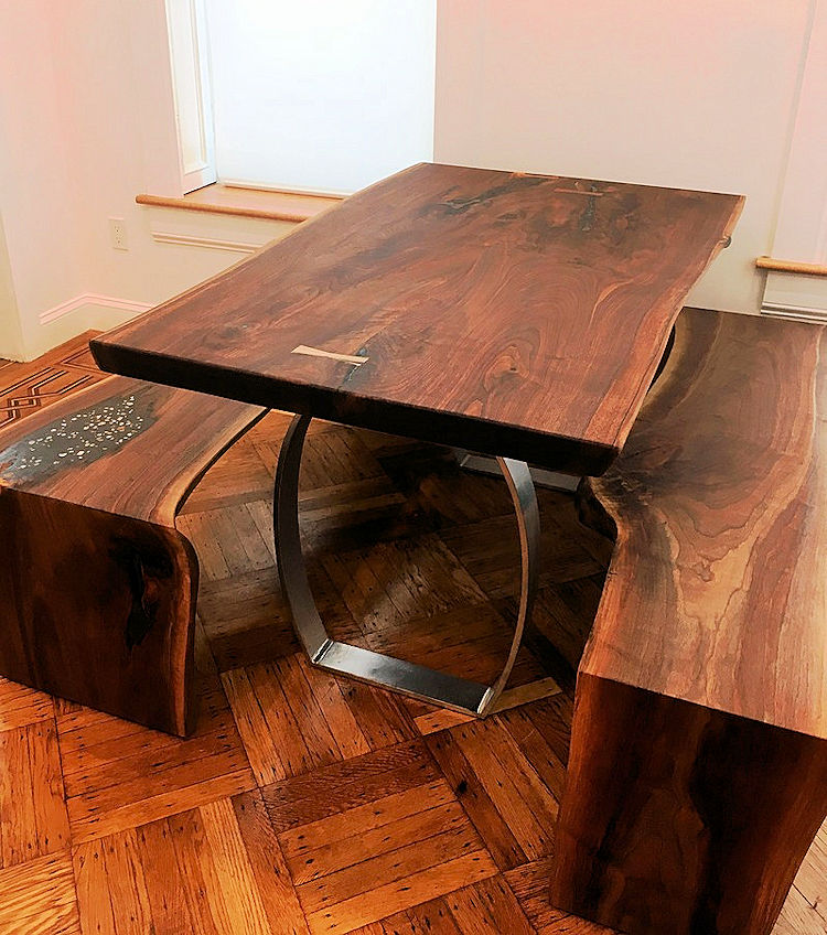 Walnut Kitchen Table And Bench Set Live Edge Slabs New Mexico