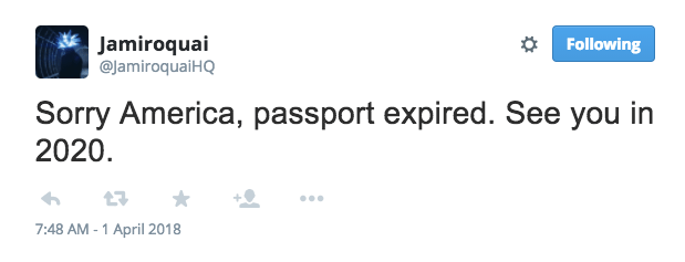 Jamiroquai Tour 2020 Jamiroquai Passport Expired, U.S. Dates Rescheduled For 2020