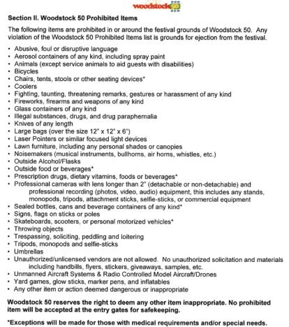 woodstock 50 prohibited items