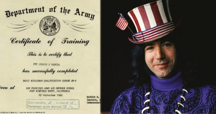 jerry garcia army, jerry garcia army records, jerry garcia captain trips, jerry garcia soldier