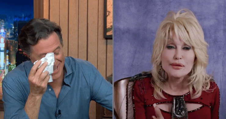 Dolly Parton's Impromptu Song Moves Stephen Colbert to Tears