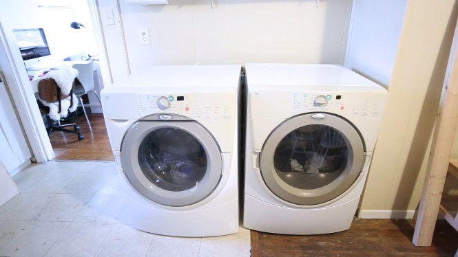 But With The Limited Kitchen Counter E I Immediately Imagined A Front Loading Washer And Dryer Waterfall Countertop