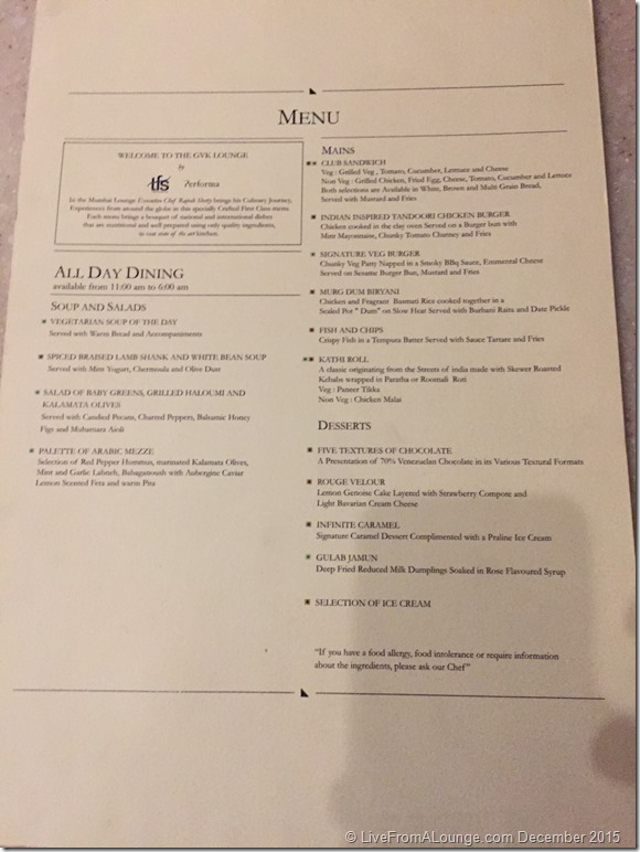 All-day Dining Menu, GVK Lounge, First Class