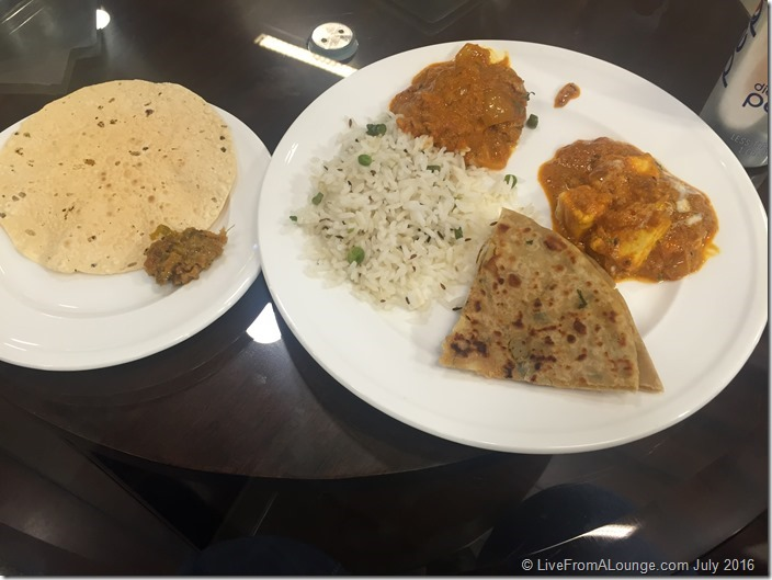 A sampling of Dinner: Rice, Parantha, Chicken curry & Paneer do Pyaza