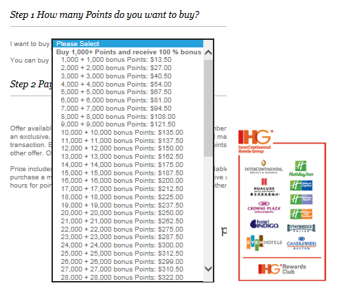 IHG Bonus Points