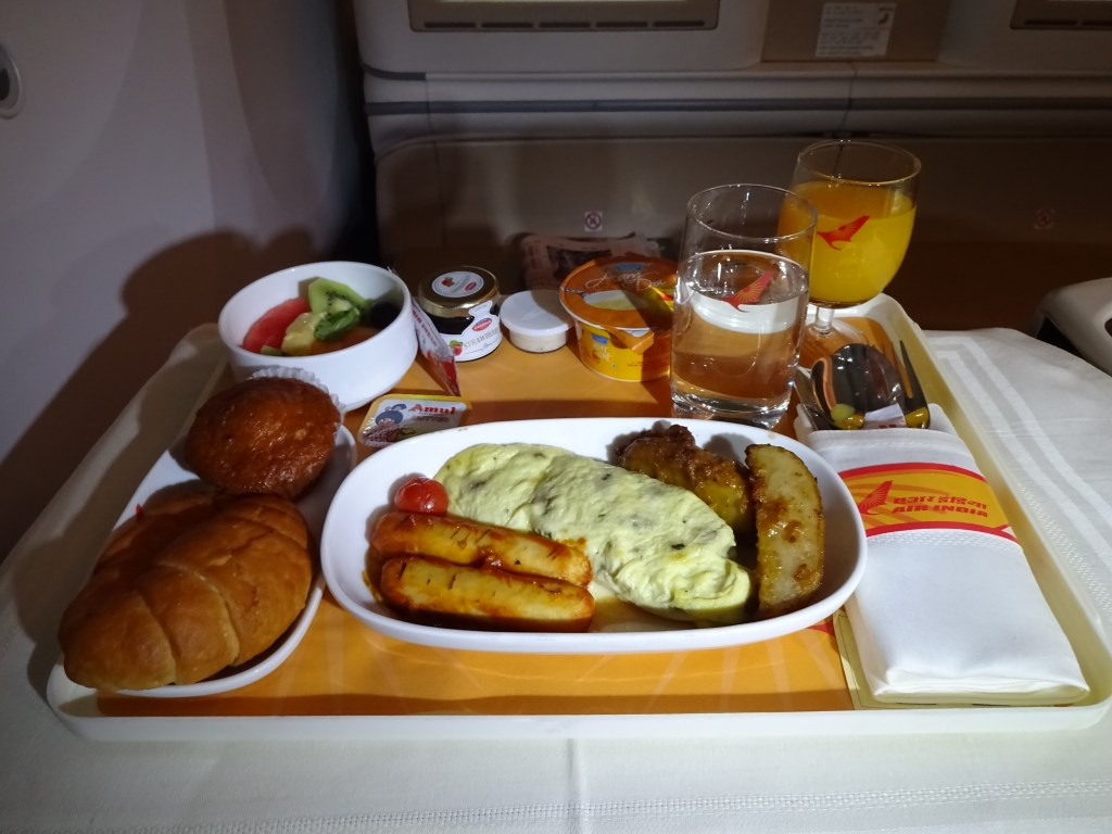 Air India 787-8 Business Class Breakfast