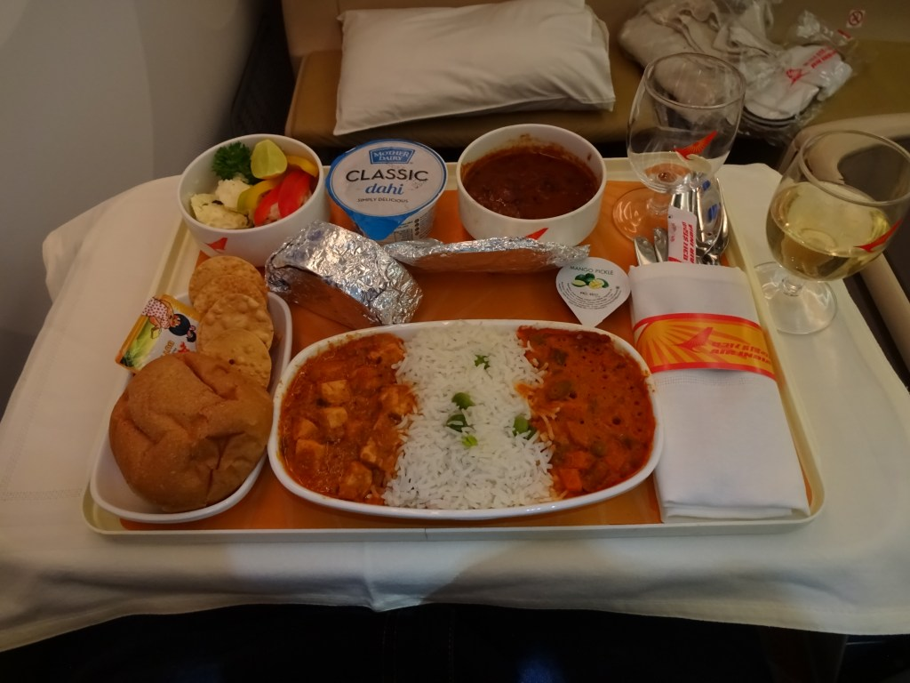 Air India 787-8 Business Class Lunch Service